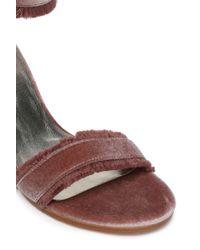 Stuart Weitzman - Frayed Velvet Sandals - Lyst