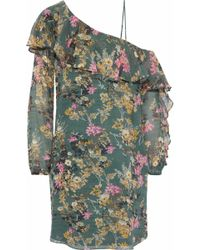 Haute Hippie - Asymmetric Ruffled Floral-print Silk-georgette Mini Dress Grey Green - Lyst