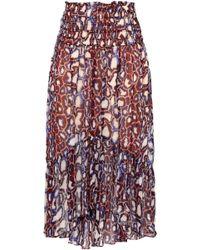 Ba&sh - Woman Gathered Printed Georgette Skirt Multicolour - Lyst