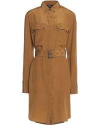 Belstaff - Belted Cotton And Linen-blend Mini Shirt Dress Light Brown - Lyst