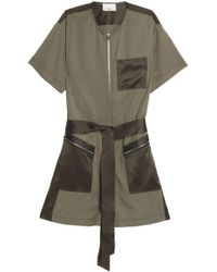 3.1 Phillip Lim - Satin-paneled Belted Twill Playsuit Army Green - Lyst