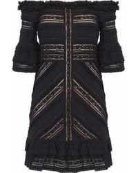 ee8ec42a662 Rachel Zoe Naya Stretch-jersey And Plaid Cotton Mini Dress in Black ...