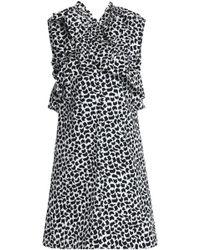Marni - Ruffle-trimmed Printed Cotton-poplin Dress - Lyst