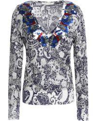Marc Jacobs - Sequin-embellished Distressed Metallic Jacquard-knit Jumper - Lyst