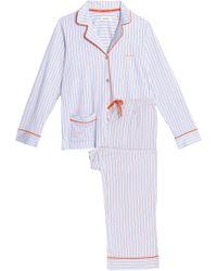 DKNY - Striped Cotton-blend Poplin Pajama Set - Lyst