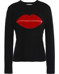 MILLY - Appliquéd Cashmere-blend Sweater - Lyst