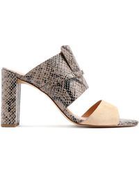 Halston - Snake-effect Leather And Suede Mules - Lyst
