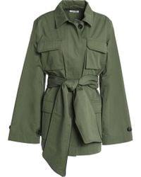 Ganni - Cotton-gabardine Jacket Army Green - Lyst