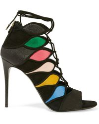 Ferragamo - Felicity Lace-up Paneled Suede And Croc-effect Leather Sandals - Lyst