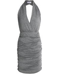 Bailey 44 - Ruched Jersey Halterneck Mini Dress Dark Grey - Lyst