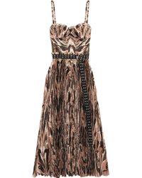 Alexander McQueen - Belted Printed Plissé Silk Crepe De Chine Midi Dress - Lyst