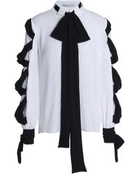 b41c33cae6c936 Emilia Wickstead - Woman Fritz Tie-detailed Crinkled-crepe Blouse White -  Lyst