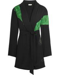 Attico - Lauren Satin-appliquéd Crepe Mini Wrap Dress - Lyst