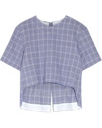 Tim Coppens - Checked Crinkled Cotton-blend Top - Lyst