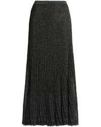 Roberto Cavalli - Metallic Pleated Knitted Maxi Skirt - Lyst