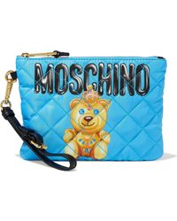 Moschino - Quilted Printed Satin-twill Clutch - Lyst