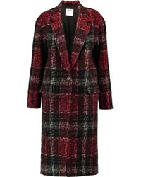 DKNY - Leopard-print Embossed Checked Twill Coat - Lyst