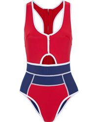 Duskii - Cutout Scuba Swimsuit Red - Lyst