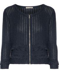 Autumn Cashmere - Frayed Open-knit Cotton Jacket Midnight Blue - Lyst