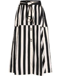 Nina Ricci - Striped Silk Midi Skirt - Lyst