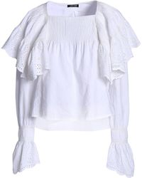 Love Sam - Ruffled Broderie Anglaise Pintucked Cotton Top - Lyst