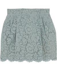 Valentino - Silk-blend Guipure Lace Mini Skirt Grey Green - Lyst