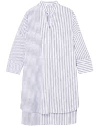 Jil Sander - Woman Striped Cotton Tunic White - Lyst
