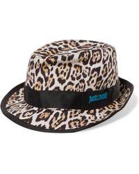 Just Cavalli - Grosgrain-trimmed Leopard-print Canvas Panama Hat Animal Print - Lyst