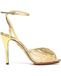 Charlotte Olympia - Cutout Metallic Leather Sandals - Lyst