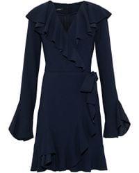 Goen.J - Wrap-effect Ruffled Crepe Mini Dress - Lyst
