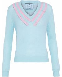 Prada - Striped Ruffle-trimmed Cashmere Sweater Light Blue - Lyst