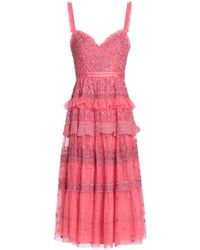 Needle & Thread - Ruffled Tiered Embroidered Tulle Dress - Lyst