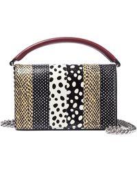 Diane von Furstenberg - Bonne Soiree Printed Watersnake-paneled Leather Shoulder Bag - Lyst