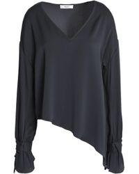 MILLY - Asymmetric Silk-blend Crepe De Chine Blouse - Lyst