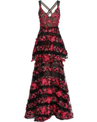 Marchesa notte Layered Embroidered Point D'esprit Gown Black