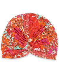 Roberto Cavalli - Ruched Printed Jersey Turban Bright Orange - Lyst