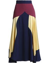 ROKSANDA - Hammered Satin-paneled Crepe Midi Skirt - Lyst