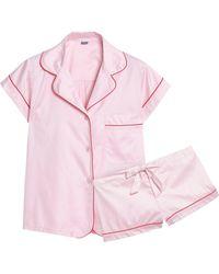 Bodas - Woman Cotton-sateen Pyjama Set Baby Pink - Lyst
