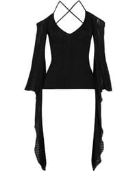 Balmain - Cutout Ribbed Stretch-knit Top - Lyst