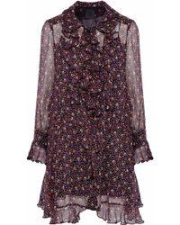 Anna Sui - Printed Ruffled Crepe De Chine Dress - Lyst