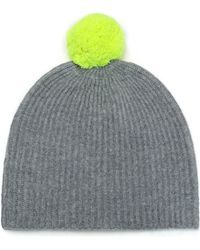 cab14340d Autumn Cashmere Pompom-embellished Ribbed Cashmere Beanie in Blue - Lyst