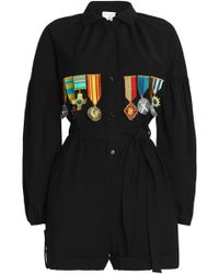 Stella Jean - Woman Appliquéd Wool-blend Playsuit Black Size 38 - Lyst