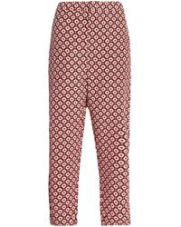 Marni - Cropped Printed Silk Straight-leg Trousers - Lyst