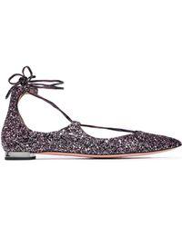 Aquazzura - Lace-up Glittered Leather Point-toe Flats - Lyst