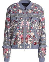 Needle & Thread - Ruffle-trimmed Embroidered Crepe Bomber Jacket - Lyst
