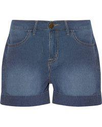 Current/Elliott - The Rolled Boyfriend Striped Cotton Shorts - Lyst