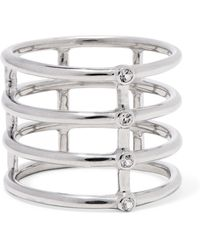 Elizabeth and James - Silver-tone Crystal Ring - Lyst