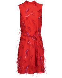 Emilio Pucci - Feather-embellished Embroidered Chiffon Mini Dress - Lyst