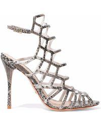 Schutz - Juliana Cutout Python-effect Leather Sandals - Lyst