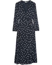 7448860700fc Ganni - Woman Barra Polka-dot Chiffon Midi Wrap Dress Midnight Blue - Lyst